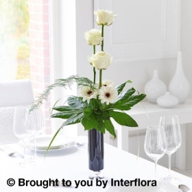 Elegant White Rose & Germini Vase