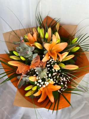 Orange Crush lily bouquet